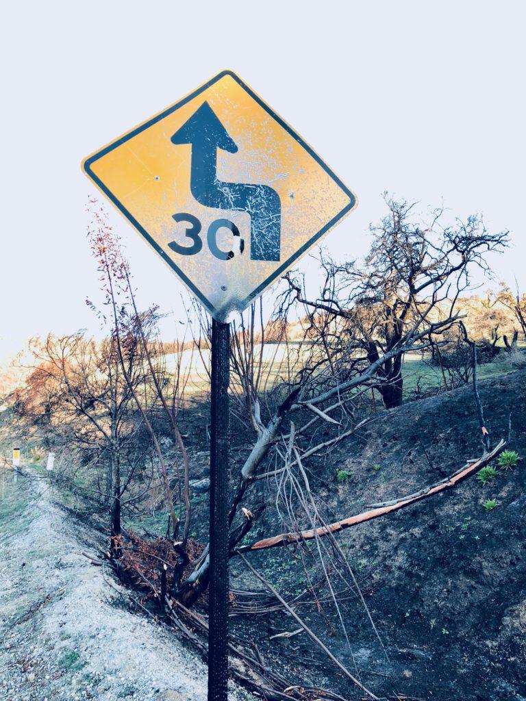 Burned Speed Sign